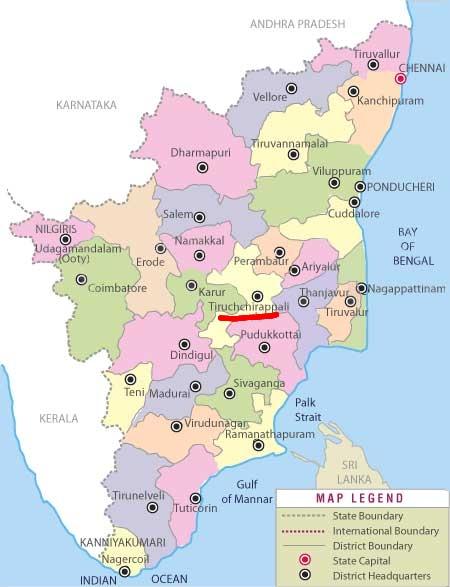 Trichy in relation to Tamilnadu