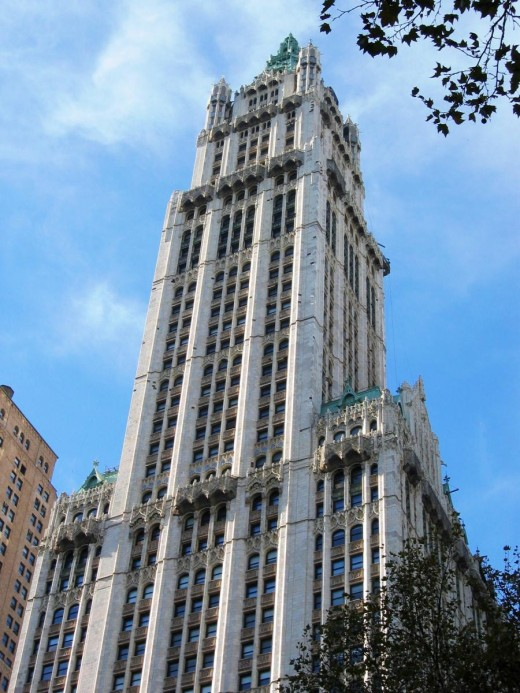 """New York's Woolworth Building, the """"cathedral of commerce"""" and a  forerunner of the Empire State Building"""