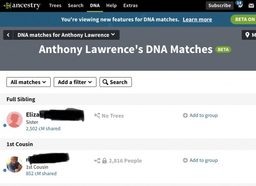 Matches from Ancestry