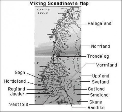 Mediaeval Scandinavia's main regions at the height of the Viking Age