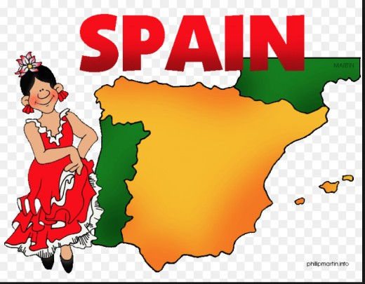 Basic map of Spain, the origin of the Spanish language.