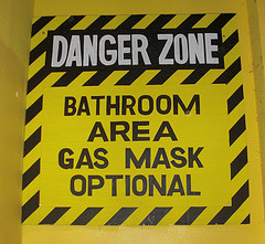 The perfect bathroom sign for family reunions.