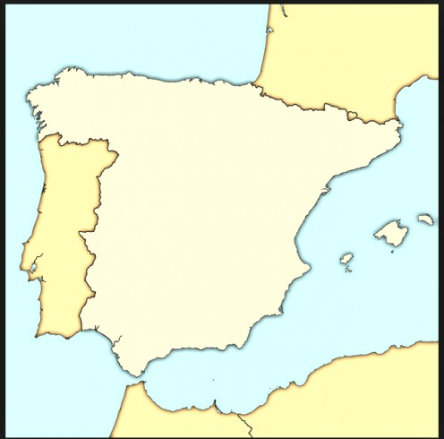 A basic map of modern Spain, where Spanish is the official language.