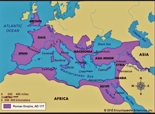 The purple areas represent the Roman Empire around 100 A.D.