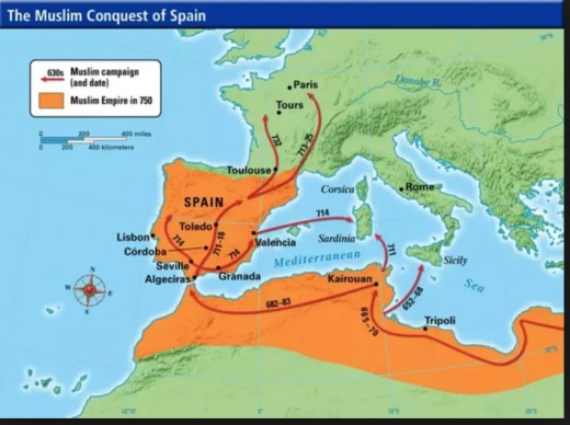 The path of the Moors from North Africa through the conquest of Spain.  Cerca 790 AD.  The capital of Moorish Spain was Cordoba, which at one point became one of the most advanced cities in Europe.