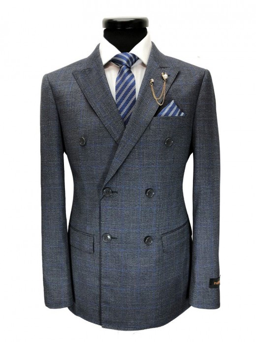 Grey blue Prince of Wales check Double breasted Suit
