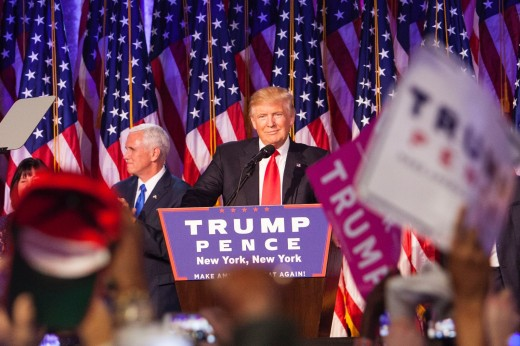 Then-presidential candidate Donald Trump delivering his victory speech after he was declared victorious in the 2016 presidential election he was predicted to lose.