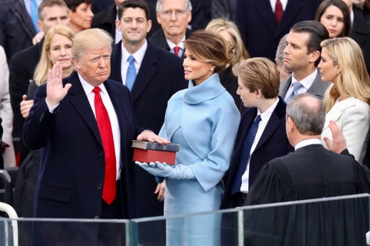 Donald Trump taking the oath of office of the president of the United States in January 2020.