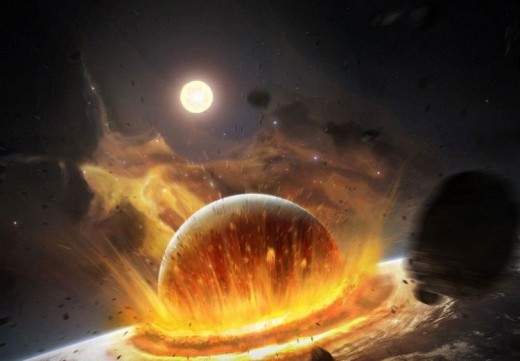 The theory also explains how the great explosion was caused by the collision of our being another universe and then the collisions between the different universes are repeated to produce other great explosions from time to time.