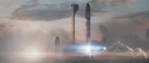An artist's conceptual Drawing of SpaceX's Interplanetary Transport System
