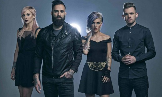 Skillet as it currently stands, from left to right: drummer and backing vocalist Jen Ledger, bassist and frontman John Cooper, guitarist, keyboardist, and John's wife, Korey Cooper, and rhythm guitarist Seth Morrison.