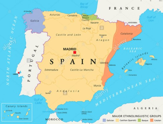A map of Spain (Western Europe).