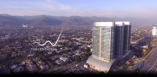 With 26 floors, the triplet towers stand 361 ft high each making The Centaurus one of the tallest buildings in Pakistan.