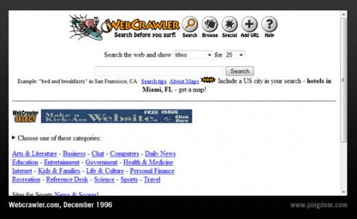 In 1996, the search engine Webcrawler was the most popular website. It was also the first search engine to provide full text search.