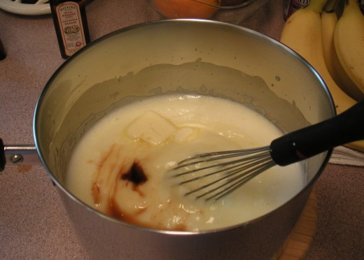 Add the butter and vanilla while the pudding is warm.
