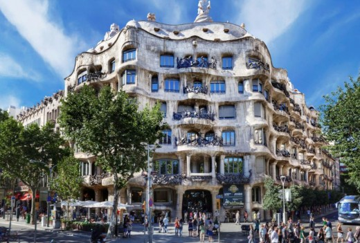 Front view of the six story Casa Mila in Barcelona.
