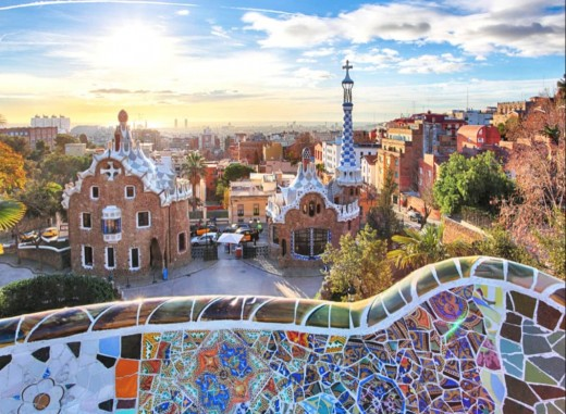 El Parque Guell, Barcelona, Spain.  Notice the curved lines on the rooftops.