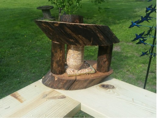 Looks like an extraordinary homemade bird feeder but is actually an all night buffet for our cat.