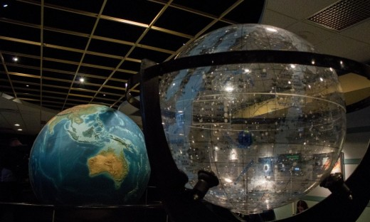 Abrams Planetarium lobby showing terrestrial and celestial globes