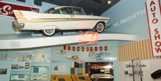 Auto Show exhibit showing vintage 1950's cars on display