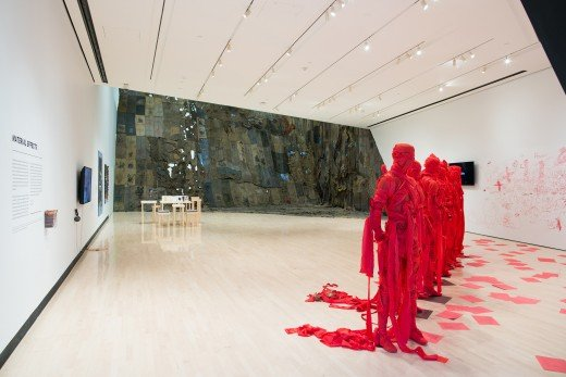 One of the galleries with an exhibit on display--note the flowing effect and spaciousness