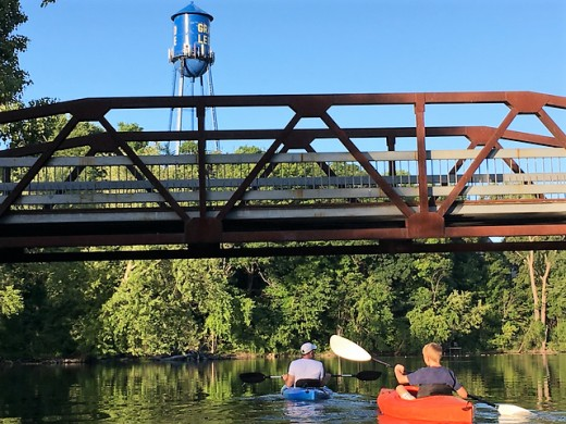Kayaking around Island Park, with historic water tower in background