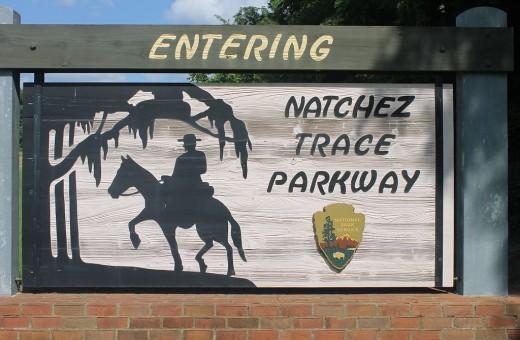 Natchez Trace entrance sign near Natchez, Mississippi