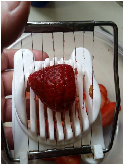 strawberry - egg slicer worked, but bent the wires