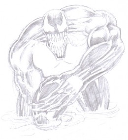 See the venom drawing coming together now with the dark areas of the costume becoming clearer.