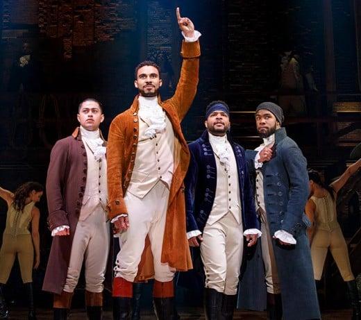 "A cast scene at Wharton Center during the hit play ""Hamilton"" in a recent season"