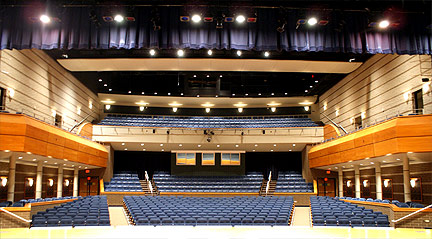 Interior of Charlotte Performing Arts Center, showing spaciousness of Main Hall