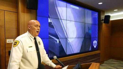 Salt Lake City Police Chief Mike Brown makes announcement they have found the charred remains of Mackenzie Lueck. Photo courtesy of Fox News.