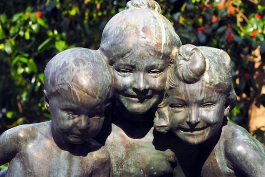 The ghosts of the children communicate via the sculptures (like the one above)!