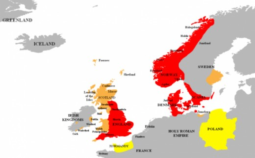 The extent of territory held by or for Knut 'the Great' by his sons and allies. In those days the Poles were known as Wends, and Knut's mother had been a Wendish princess
