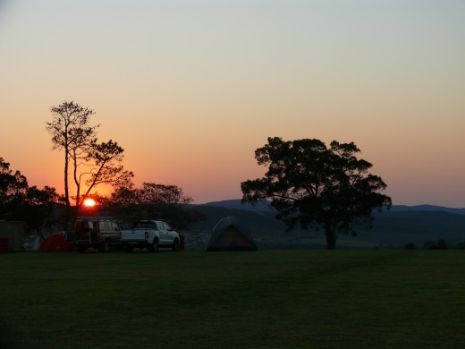 Sun rises at Festival from camp ground