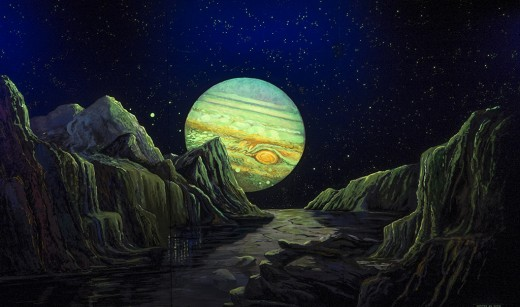 New display at Abrams showing stunning view of Jupiter from one of its icy moons