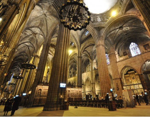 An inside view of Cathedral Barcelona.  The high ceiling and narrow arches are quite reminiscent of medieval gothic style.