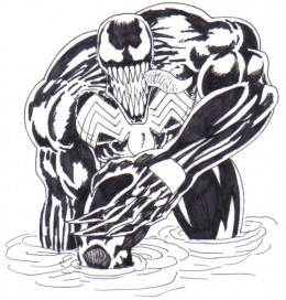 Adding the black ink really brings the venom character to life for me.