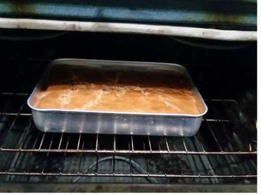 After one hour, cake is browned and cracking