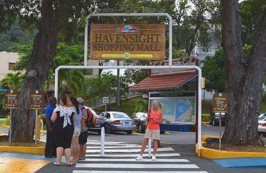 Havensight Mall is a sprawling shopping area that includes restaurants and attractions. The lovely lady in red is married to this writer.
