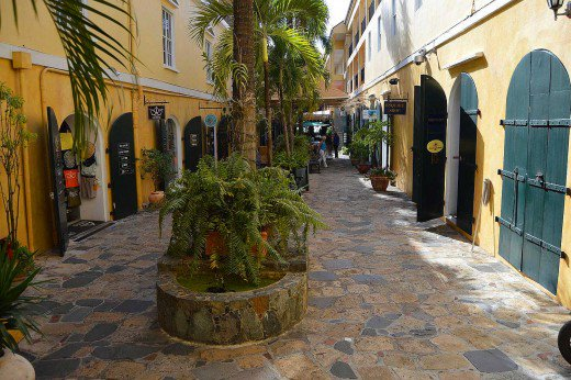 Shops and restaurants line quiet alleys in Charlotte Amalie.