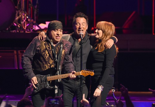 Bruce Springsteen with Steven Van Zandt and Patti Scialfa of the E-Street Band
