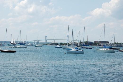 Boats line Newport Harbor.