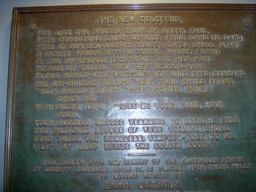 The New Colossus by Emma Lazarus on a Bronze Plaque!