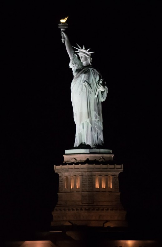 Lady Liberty is Illuminated at night!