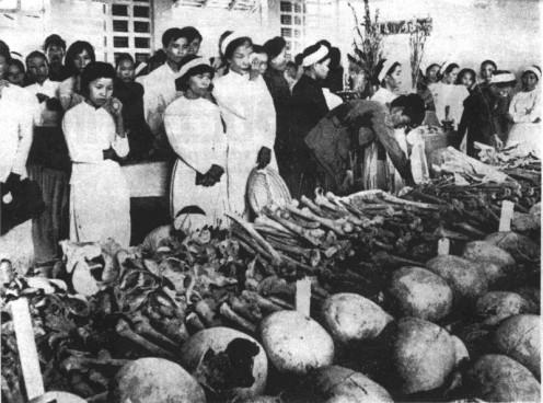 Skulls and remains of the victims due at Hue