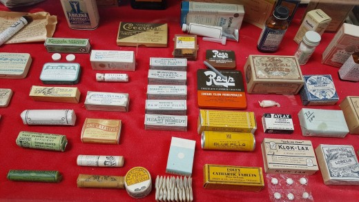 Medical supplies of the 19th century display