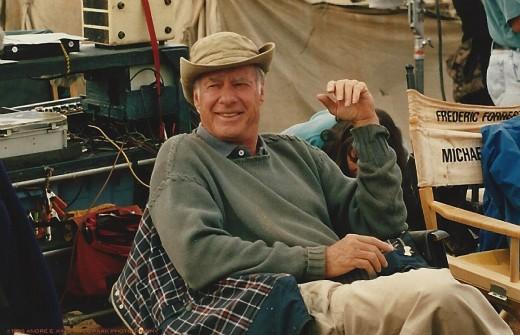 "John Frankenheimer relaxing between camera setups on the set of the Turner Film Production ""Andersonville."""