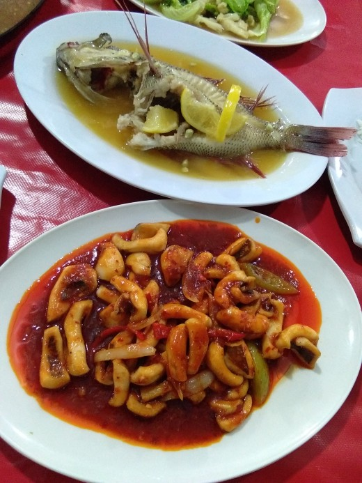 Requested to cook these delicious steamed fish in butter and lemon sauce, and this yummy spicy squid in fresh tomatoes..