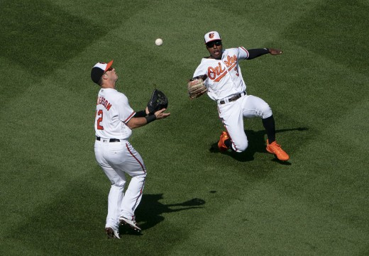 Steve Wilkerson and Cedric Mullins vie for a pop-up during one of the Orioles losses in 2018.